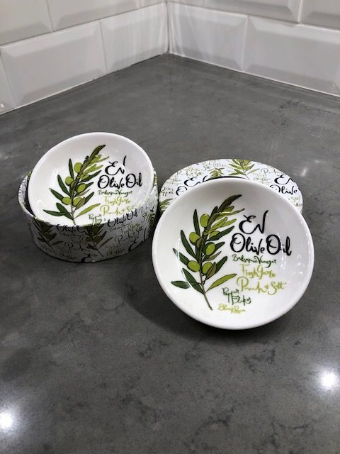 Ceramic Olive oil and vinegar dipping saucers Set of two