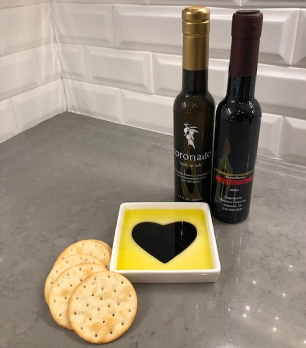 Taste of Love Oil Vinegar Appetizer Plate & Olive Oil and Vinegar Pair
