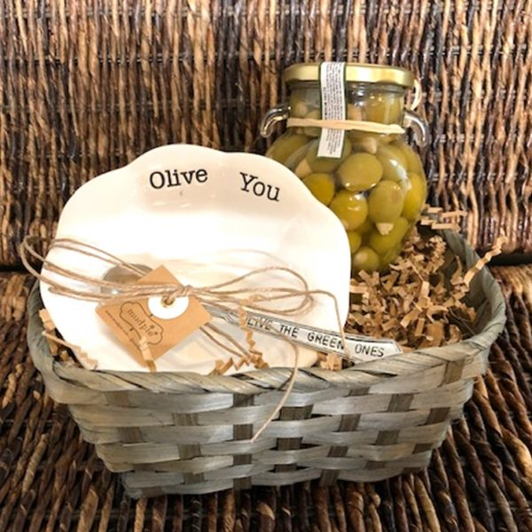 """Olive You"" Appetizer Plate with Serving Spoon & 1 Jar of Delzia Olives"
