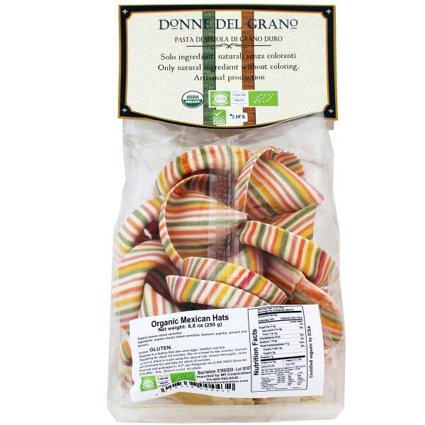 ITALIAN DONNE DEL GRANO ORGANIC MEXICAN HATS SOMBRERONI COLORED PASTA 8.8OZ nutrition fatcs