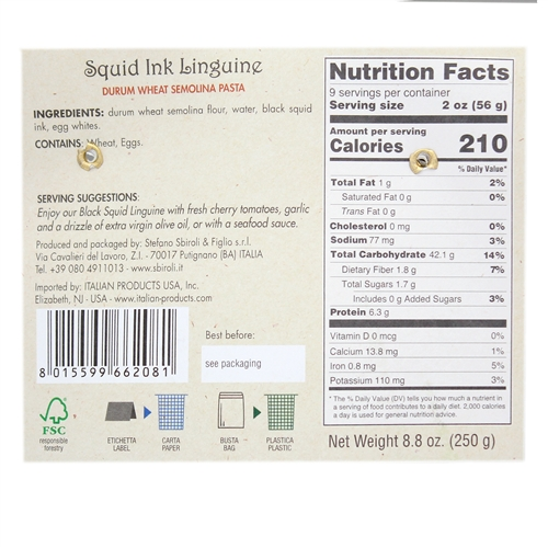 SBIROLI Linguine Squid Ink Flavor, 8.8 Ounce Nutritional Information