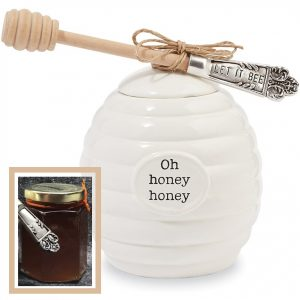 Mud Pie Honey Pot Serving Set, White with honey jar