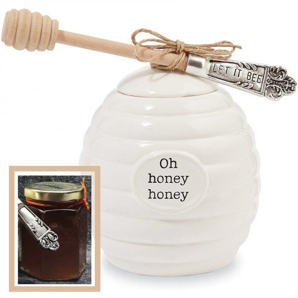 Mud Pie Honey Pot Serving Set, White with honey jar