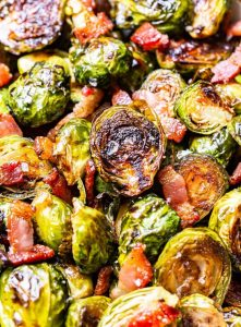 Balsamic Maple Roasted Brussels Sprouts with Bacon Recipe